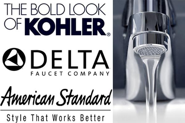 Kohler, Delta, and American Standard faucet brands